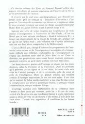 Les ecrits de fernand braudel - l'histoire au quotidien - 4ème de couverture - Format classique