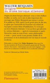 Origine Du Drame Baroque Allemand - 4ème de couverture - Format classique