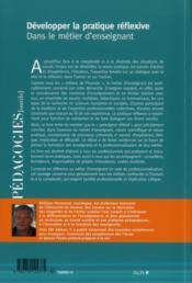 Développer la pratique réflexive ; dans le métier d'enseignant (6e édition) - 4ème de couverture - Format classique