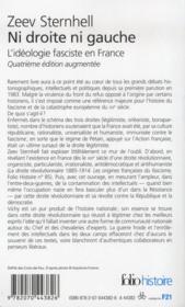 Ni droite ni gauche ; l'idéologie fasciste en France - 4ème de couverture - Format classique