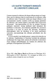 Quatre tournants manqués de l'université congolaise ; analyse des réformes académiques du Congo-Zaïre (1971-2011) - 4ème de couverture - Format classique