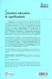 Situation Educative Et Significations - 4ème de couverture - Format classique