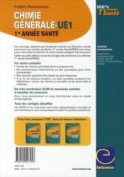 Chimie générale ; UE1 ; 1ère année santé ; cours, exercices, annales et GCM corrigés (2e édition) - 4ème de couverture - Format classique