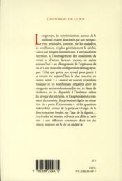 L'Automne De La Vie. Enjeux Ethiques Du Vieillissement - 4ème de couverture - Format classique