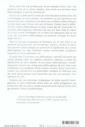 Premiers Mots Philosophiques Reperes Conceptuels - 4ème de couverture - Format classique