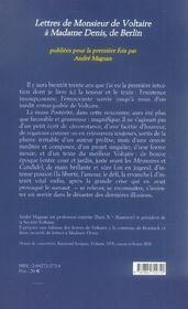 L'affaire pamela lettres de monsieur de voltaire a madame denis de berlin - 4ème de couverture - Format classique