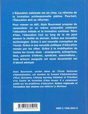 L'Education Tout Au Long De La Vie Une Nouvelle Education Nationale - 4ème de couverture - Format classique
