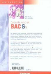 Que faire avec un bac s ? (6e édition) - 4ème de couverture - Format classique