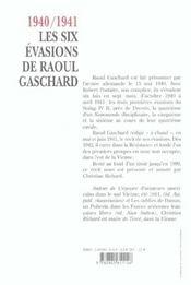 1940-1941, Les Six Evasions De Raoul Gaschard - 4ème de couverture - Format classique