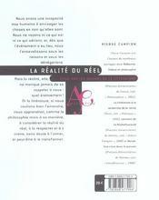 Realite Du Reel - 4ème de couverture - Format classique