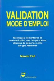 Validation Mode D'Emploi Techniques Elementaires De Communication Avec Les Perso - Intérieur - Format classique