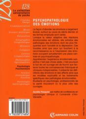 Psychopathologie des émotions - 4ème de couverture - Format classique