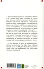 L'histoire et la mémoire de l'histoire ; hommage à Yosef Hayim Yerushalmi - 4ème de couverture - Format classique