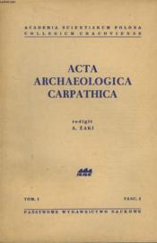 Acta Archeologica Carpathica. Tome I, Fascicule 2. - Couverture - Format classique