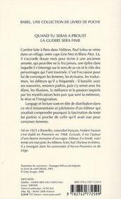 Quand tu seras à Proust, la guerre sera finie - 4ème de couverture - Format classique
