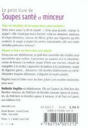 Le Petit Livre De Cuisine ; Soupes, Santé Et Minceur - 4ème de couverture - Format classique