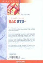 Que faire avec un bac stg ? (5e édition) - 4ème de couverture - Format classique