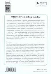 Intervenir En Milieu Familial - 4ème de couverture - Format classique