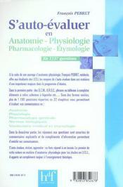 S'Auto-Evaluer En 1137 Questions ; Anatomie, Physiologie, Pharmacologie, Etymologie - 4ème de couverture - Format classique