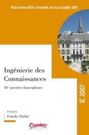 Ingénierie des connaissances ; 18e journée francophone - Intérieur - Format classique