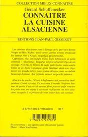 Connaitre La Cuisine Alsacienne - 4ème de couverture - Format classique
