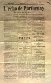 Echo De Parthenay (L') N°37 du 01/09/1867 - Couverture - Format classique