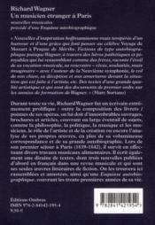 Un musicien étranger à Paris et autres nouvelles ; une esquisse autobiographique - 4ème de couverture - Format classique