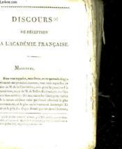 Discours De Reception A L'Academie Francaise - Poesies Fugitives - Couverture - Format classique