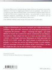 L'Esprit Des Lois Montesquieu - 4ème de couverture - Format classique