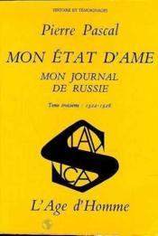 Mon Etat D'Ame Mon Journal De Russie 1922-1926 T3 - Couverture - Format classique