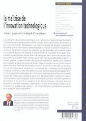 Maitrise De L'Innovation Technologique - 4ème de couverture - Format classique