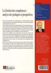 La gestion des compétences ; analyse des pratiques et prospectives - 4ème de couverture - Format classique
