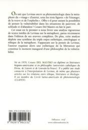 La métaphore chez Levinas ; une philosophie de la vulnérabilité - 4ème de couverture - Format classique