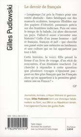 Le devoir de français - 4ème de couverture - Format classique