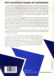 Droit international et européen de l'environnement (2e édition) - 4ème de couverture - Format classique