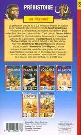 La préhistoire - 4ème de couverture - Format classique