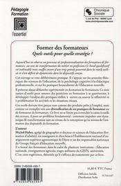 Former Des Formateurs - 4ème de couverture - Format classique