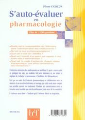 S'Auto-Evaluer En Pharmacologie - 4ème de couverture - Format classique