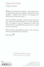 Eloge De La France - 4ème de couverture - Format classique