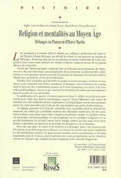 Religion Et Mentalites Au Moyen Age - 4ème de couverture - Format classique