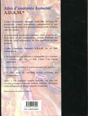 Atlas D Anatomie Humaine Adam - 4ème de couverture - Format classique