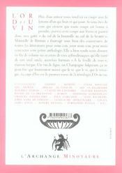 L'or du vin t.1 ; la coupe d'Eros - 4ème de couverture - Format classique