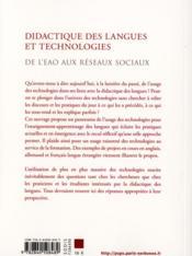 Didactique des langues et technologies ; de l'EAO aux réseaux sociaux - 4ème de couverture - Format classique