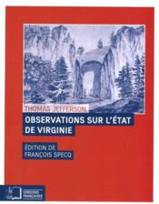Vente livre :  Observations sur l'Etat de Virginie  - Thomas Jefferson