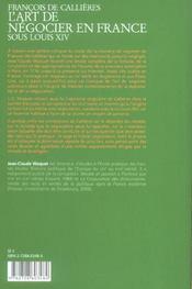 Francois De Callieres.L'Art De Negocier En France Sous - 4ème de couverture - Format classique