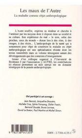 Les Maux De L'Autre ; La Maladie Comme Objet Anthropologique - 4ème de couverture - Format classique