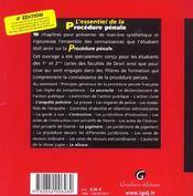 Essentiel De La Procedure Penale, 4eme Edition - 4ème de couverture - Format classique