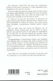 Jules massenet en toutes lettres - 4ème de couverture - Format classique