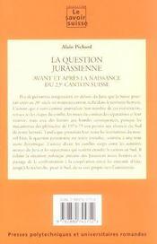 La Question Jurassienne- Avant Et Apres La Naissance Du 23eme Canton Suisse - 4ème de couverture - Format classique