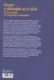 Revue De Synthese N.126-2 ; Sciences Et Philosophie Au Xx Siècle ; L'Ecole De Zurich Et Le Programme Surrationaliste (Edition 2005) - 4ème de couverture - Format classique